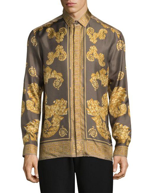 Lyst Versace Printed Silk Button Down Shirt For Men