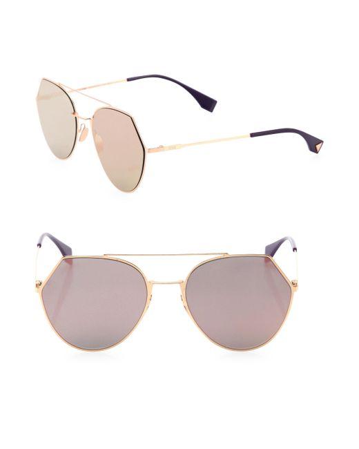 Fendi - Metallic 55mm Notched Aviator Sunglasses - Lyst