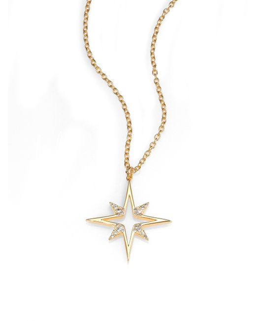Elizabeth and James | Metallic Astral Pave White Topaz Pendant Necklace | Lyst