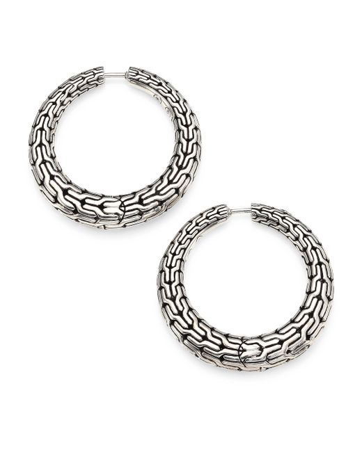 John Hardy | Metallic Classic Chain Sterling Silver Hoop Earrings/0.8 | Lyst