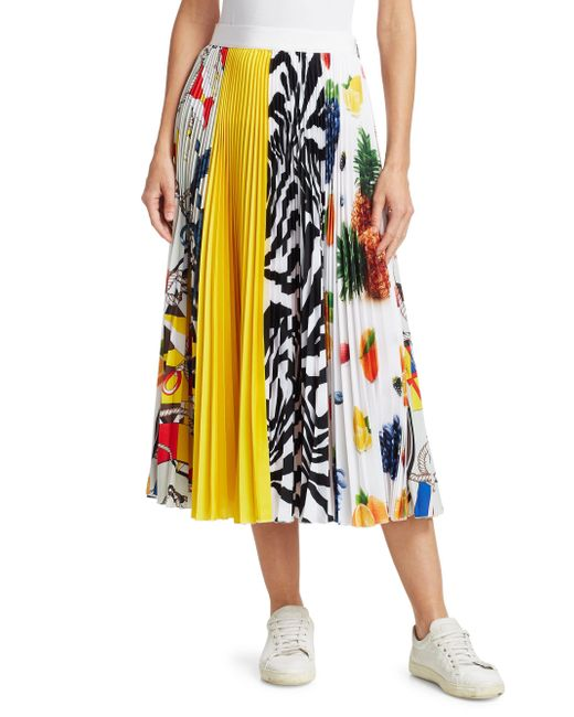 8d618820ae47bb ... MSGM - Multicolor Fruit Print Pleated Crepe Midi Skirt - Lyst ...