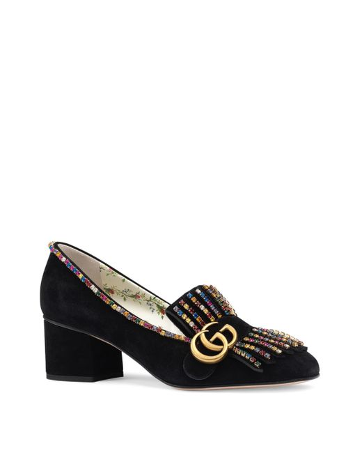 Gucci - Black Marmont Suede Mid-heel Pumps With Crystals - Lyst