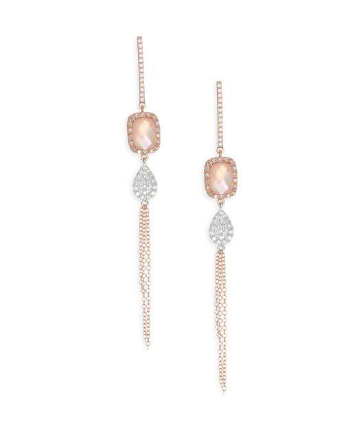 Meira T - Metallic Diamond, Rose Quartz & Pink Mother-of-pearl Doublet Fringe Earrings - Lyst