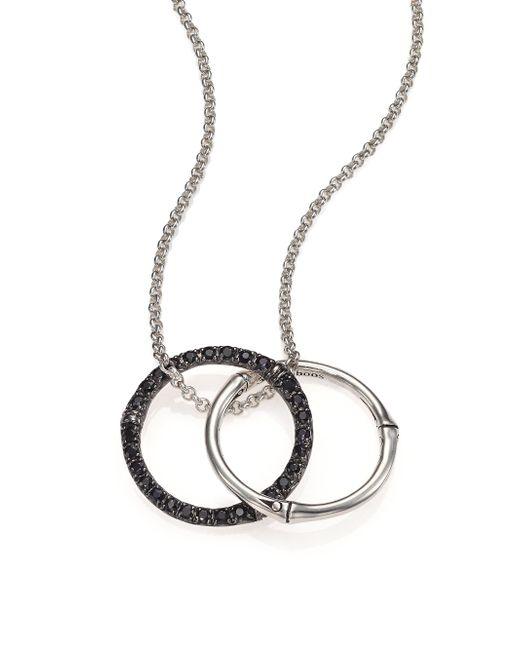 John Hardy - Metallic Bamboo Black Sapphire & Sterling Silver Medium Round Pendant Necklace - Lyst