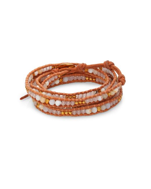 Chan Luu - White Opal, White Jade & Leather Beaded Wrap Bracelet - Lyst
