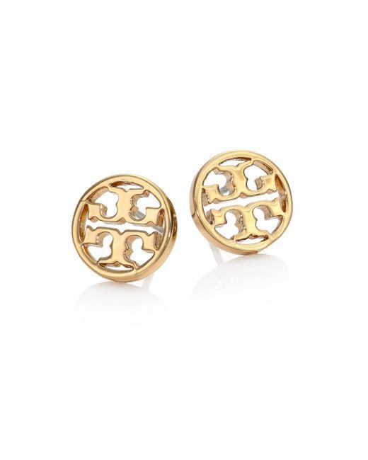 Tory Burch - Metallic Logo Circle Stud Earrings/goldtone - Lyst