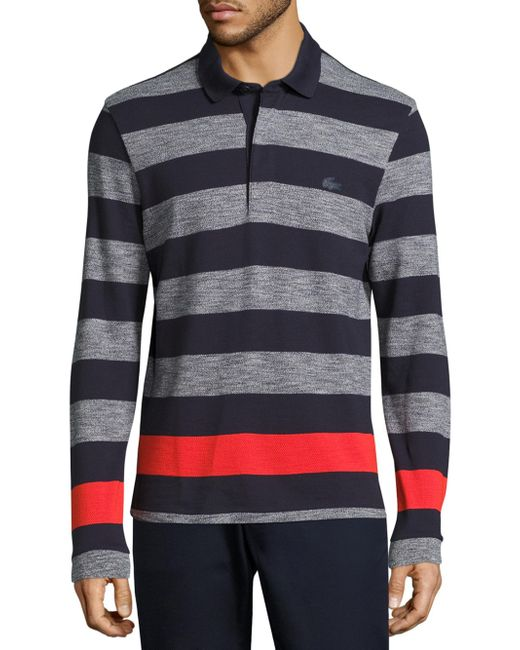 Lacoste | Gray Long Sleeve Engineered Jaspe Stripe Rugby Shirt for Men | Lyst