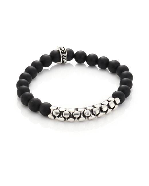 King Baby Studio - Metallic Onyx & Sterling Snake Link Bracelet - Lyst