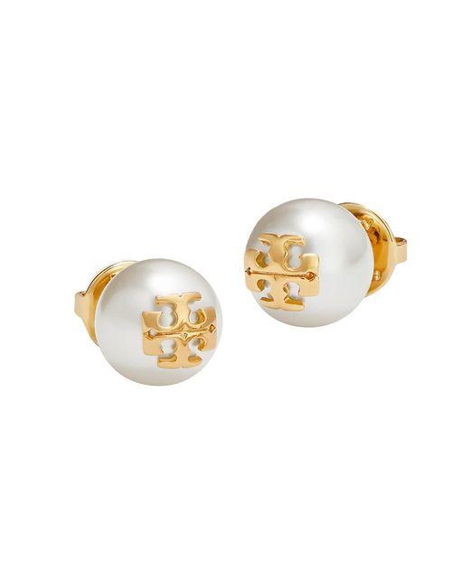 Tory Burch White Crystal-pearl Yellow Goldtone Logo Stud Earrings