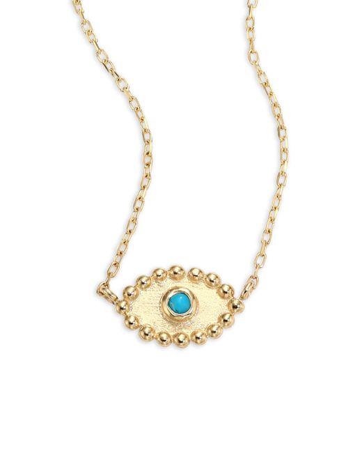 Anzie - Metallic Dew Drop Turquoise Evil Eye Pendant Necklace - Lyst