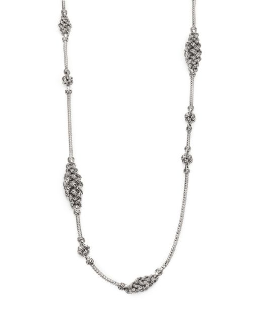 John Hardy   Metallic Classic Chain Sterling Silver Short Knot Station Necklace   Lyst