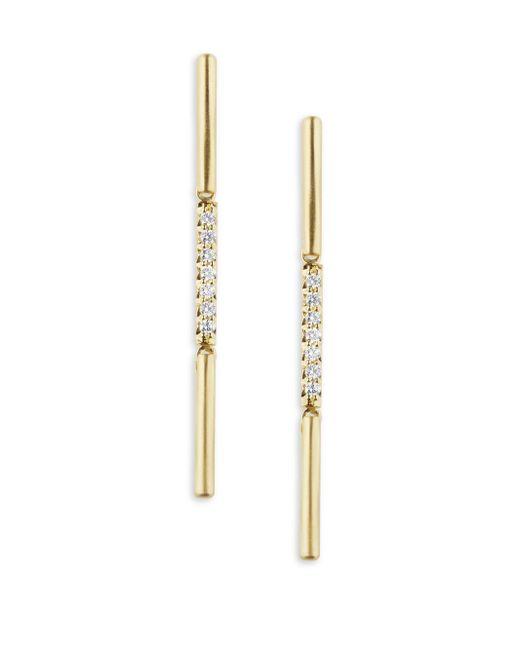 Carelle - Metallic Moderne Diamond & 18k Yellow Gold Stick Earrings - Lyst