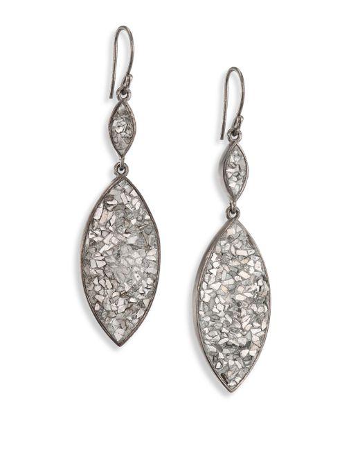 Shana Gulati   Metallic Marquis Raw Sliced Diamonds & Sterling Silver Double-drop Earrings   Lyst