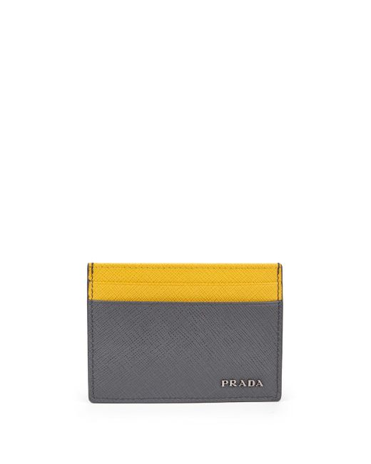 Prada - Yellow Saffiano Leather Card Case - Lyst