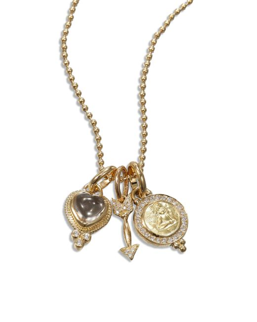 Temple St. Clair - Metallic Rock Crystal, Diamond & 18k Yellow Gold Amore Triple Charm Necklace - Lyst