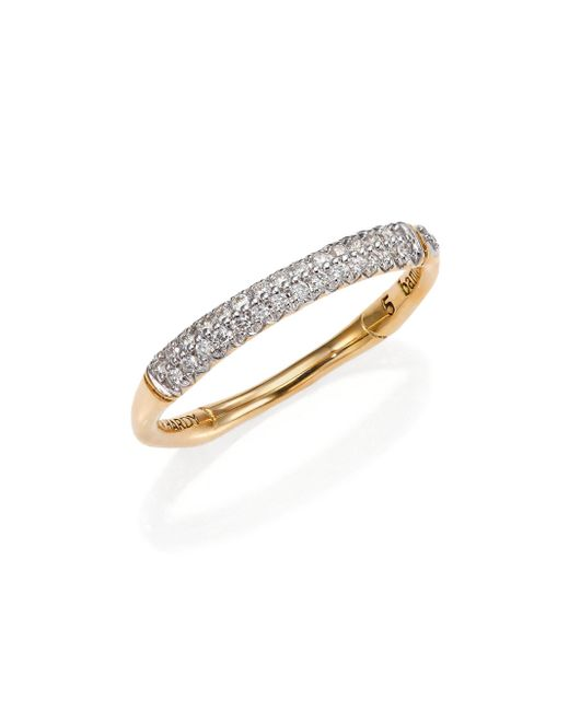 John Hardy - Metallic Bamboo Slim Diamond & 18k Yellow Gold Band Ring - Lyst