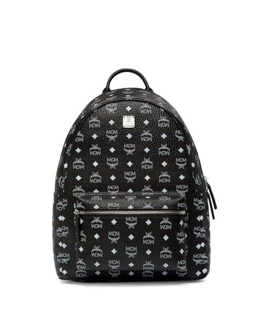 MCM | Black Logo Coated Canvas Backpack | Lyst