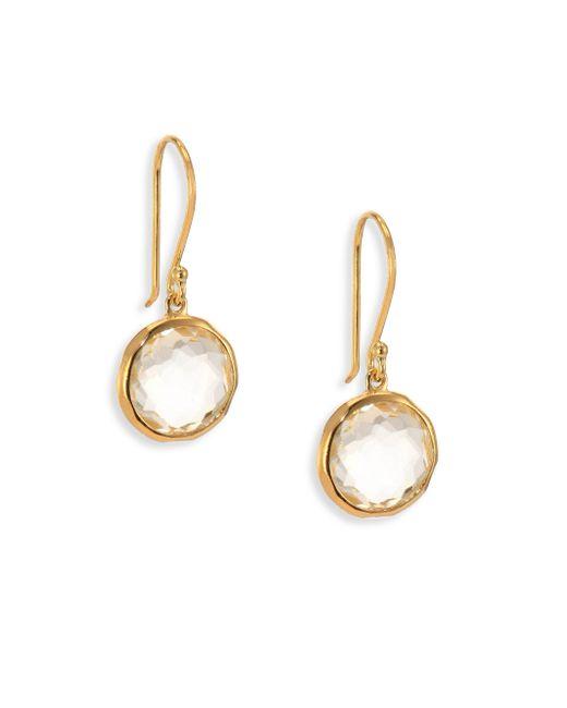 Ippolita - Metallic Lollipop Clear Quartz & 18k Yellow Gold Mini Drop Earrings - Lyst