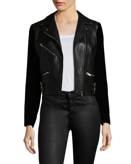 VEDA - Black Puzzle Velvet & Leather Jacket - Lyst
