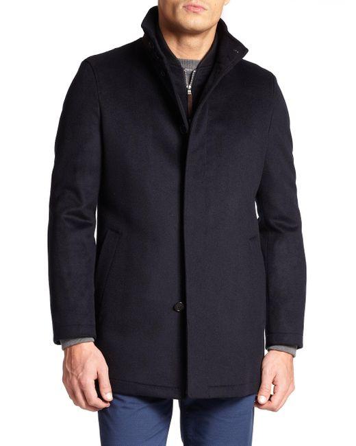 Saks Fifth Avenue - Blue War Wool Coat for Men - Lyst