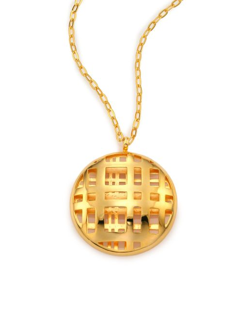 Nest | Metallic Cage Disc Long Pendant Necklace | Lyst
