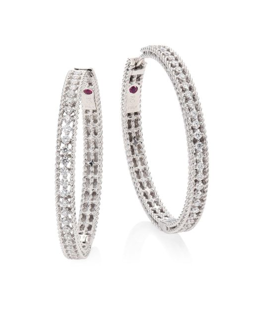 Roberto Coin - Metallic Symphony Large Diamond & 18k White Gold Hoop Earrings/1.25 - Lyst