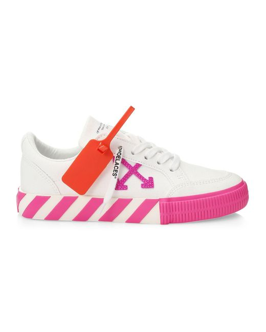 Off-White c/o Virgil Abloh Pink Arrow Low-top Neon Canvas Sneakers