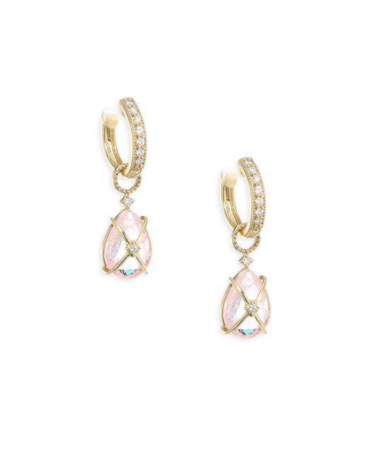 Jude Frances   Metallic Lisse Tiny Crisscross Wrapped Diamond & Morganite Earring Charms   Lyst