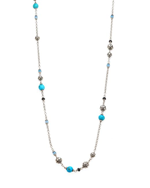 John Hardy | Metallic Dot Turquoise, Swiss Blue Topaz, Black Sapphire & Sterling Silver Sautoir Station Necklace/36 | Lyst