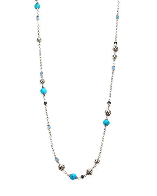 John Hardy | Metallic Dot Turquoise, Swiss Blue Topaz, Black Sapphire & Sterling Silver Sautoir Station Necklace/36 | Lyst