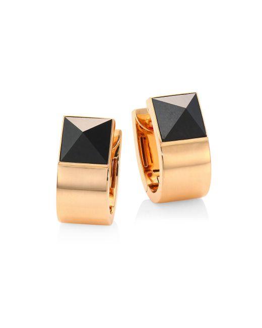 Roberto Coin - Metallic Prive Pyramid Black Jade & 18k Rose Gold Earrings - Lyst