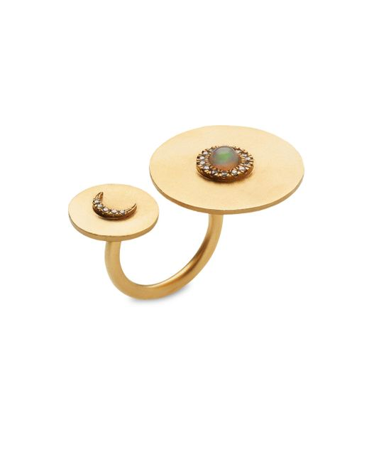 Ileana Makri - Metallic Solar Eclipse White Sapphire & Opal Ring - Lyst