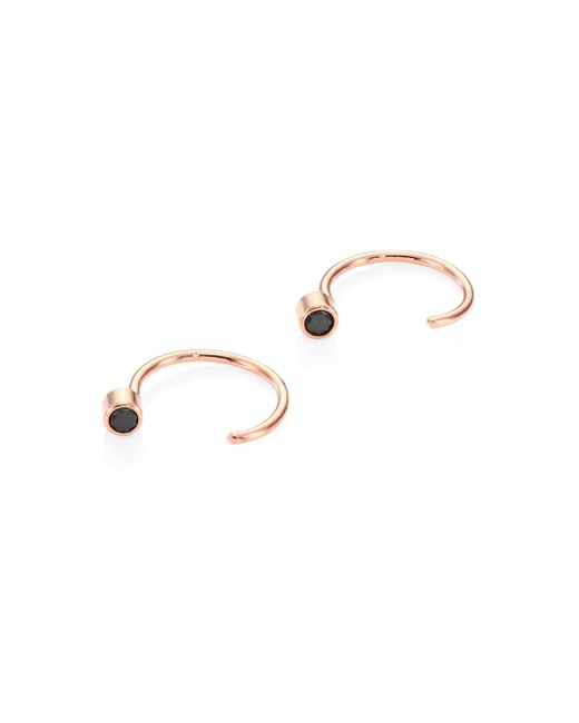 Zoe Chicco - Metallic Black Diamond & 14k Rose Gold Reverse Hoop Earrings/0.4 - Lyst