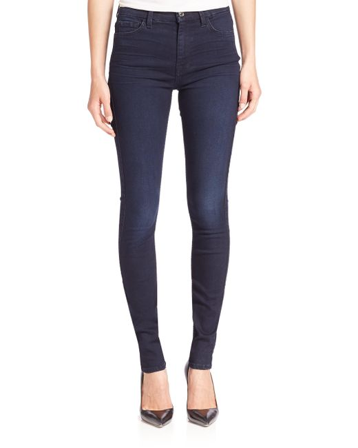 7 For All Mankind - Blue High-waist Skinny Jeans - Lyst