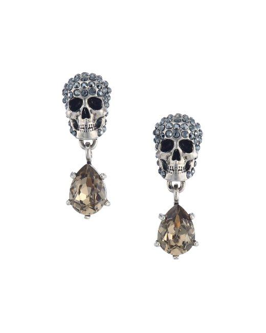 Alexander McQueen Metallic Crystal Skull Drop Earrings