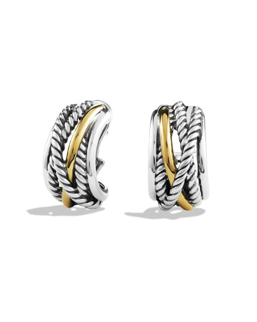 David Yurman - Metallic Crossover Earrings With Gold - Lyst