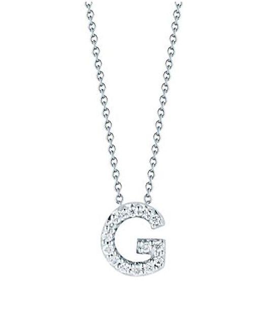 Roberto Coin Metallic Tiny Treasures 0.08 Tcw Diamond & 18k White Gold Initial Necklace