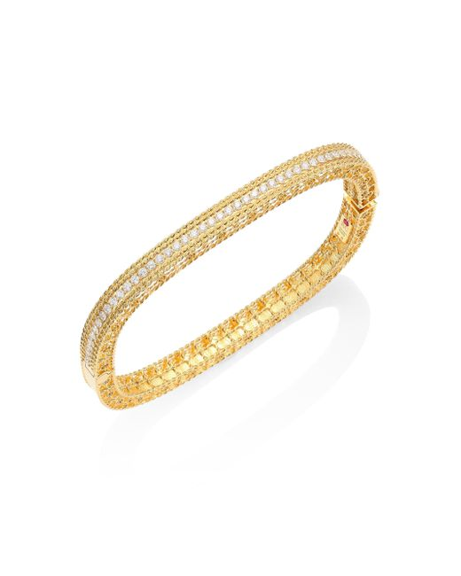 Roberto Coin - Metallic Princess Braided Diamond & 18k Yellow Gold Bangle Bracelet - Lyst