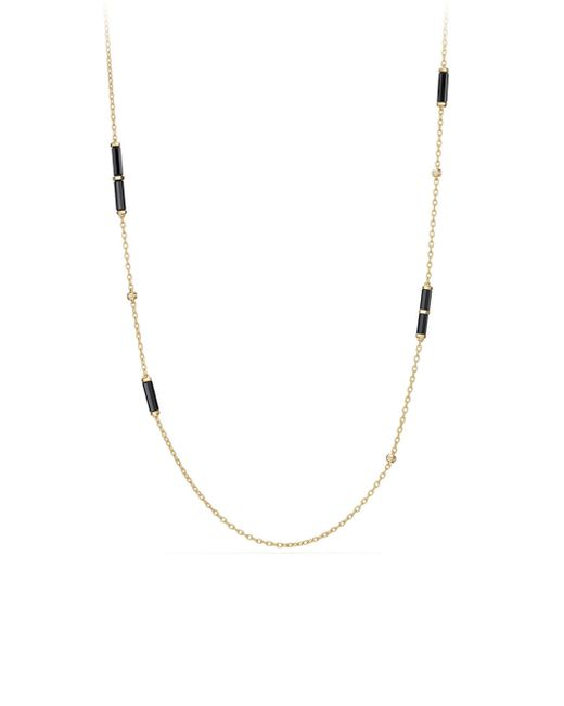 David Yurman | Metallic Barrels Station Pave Diamonds, Cabochon Black Onyx & 18k Yellow Gold Necklace | Lyst