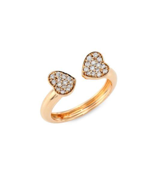 Hueb - Metallic Hearts Diamond & 18k Rose Gold Open Ring - Lyst