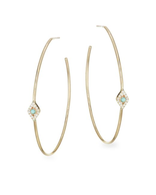Sydney Evan Metallic Turquoise Bezel Eye Hoops
