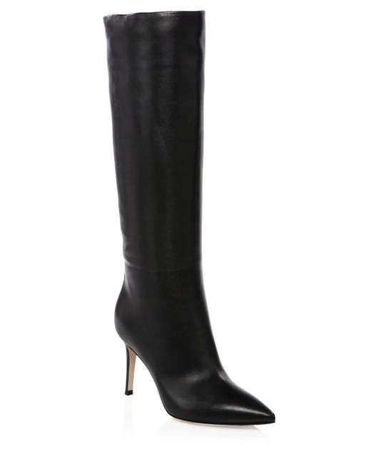 Gianvito Rossi - Black Leather Point-toe Tall Boots - Lyst