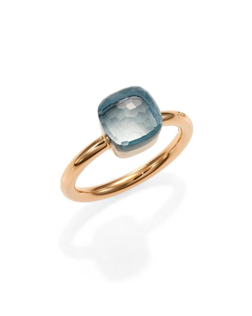 Pomellato - Pink Nudo Blue Topaz & 18k Rose Gold Small Ring - Lyst