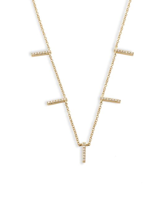 EF Collection - Metallic 5-bar Diamond & 14k Yellow Gold Necklace - Lyst
