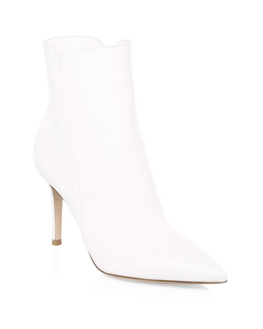 Gianvito Rossi - White Pointy Leather Booties - Lyst