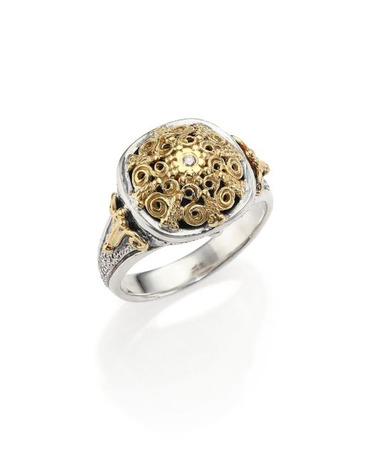 Konstantino - Metallic Classic Diamond, 18k Yellow Gold & Sterling Silver Petite Ring - Lyst