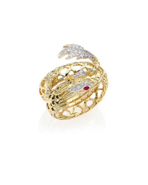 John Hardy - Metallic Legends Naga Diamond, Ruby & 18k Yellow Gold Coil Ring - Lyst