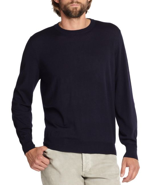 Brunello Cucinelli | Blue Wool/cashmere Crewneck Sweater for Men | Lyst
