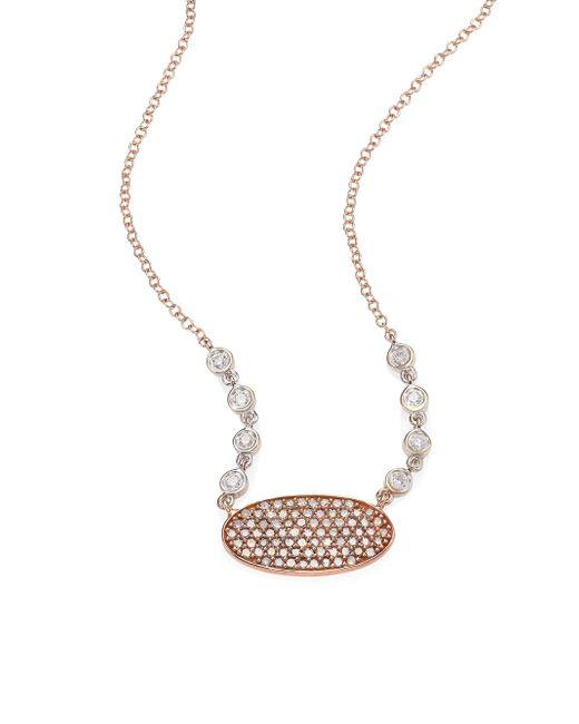 Meira T - Metallic Oblong Disc Diamond, 14k Rose & White Gold Necklace - Lyst
