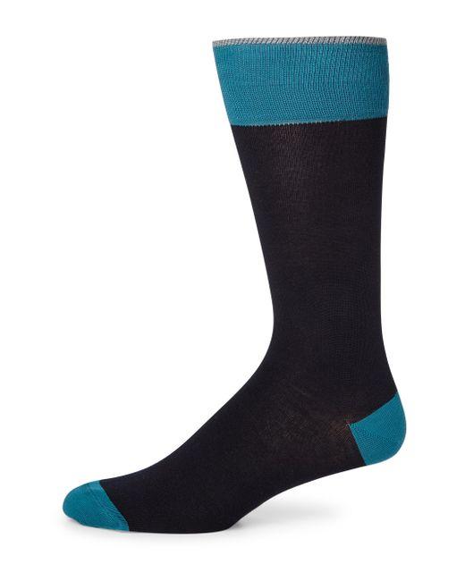 Saks Fifth Avenue   Blue Colorblock Combed Cotton Blend Socks for Men   Lyst
